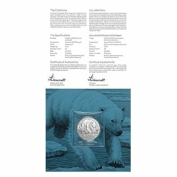 2014 Polar Bear 1/2oz .9999 Silver Coin $50 - Royal Canadian Mint 3