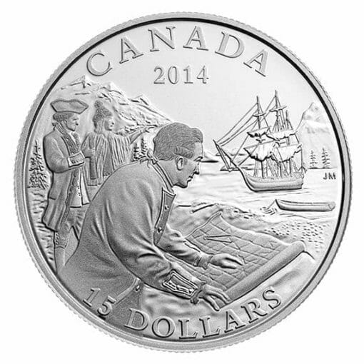 2014 Exploring Canada - The West Coast Exploration 3/4oz .9999 Silver Coin $15 - Royal Canadian Mint 1
