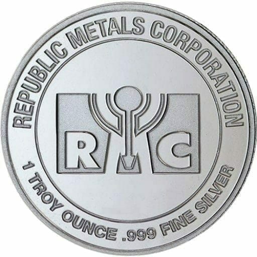RMC 1oz .999 Silver Bullion Round - Republic Metals Corporation 1