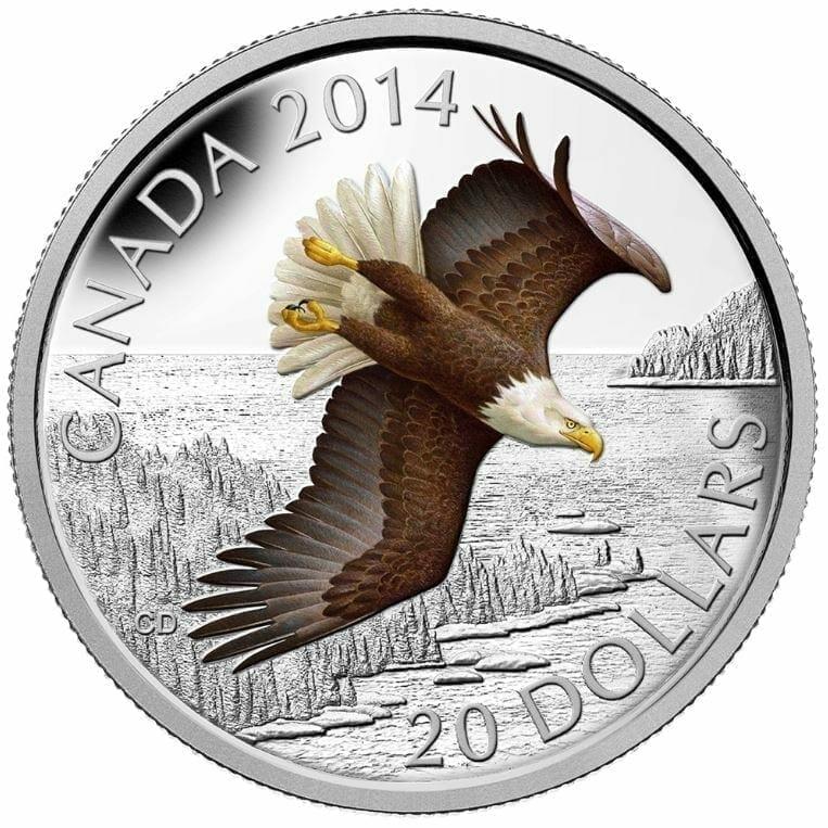 2014 $20 Soaring Bald Eagle 1oz .9999 Silver Coin - Royal Canadian Mint 1