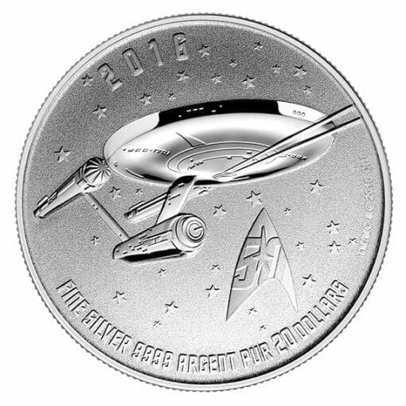 2016 Star Trek Enterprise $20 1/4oz .9999 Silver Coin - Royal Canadian Mint 2