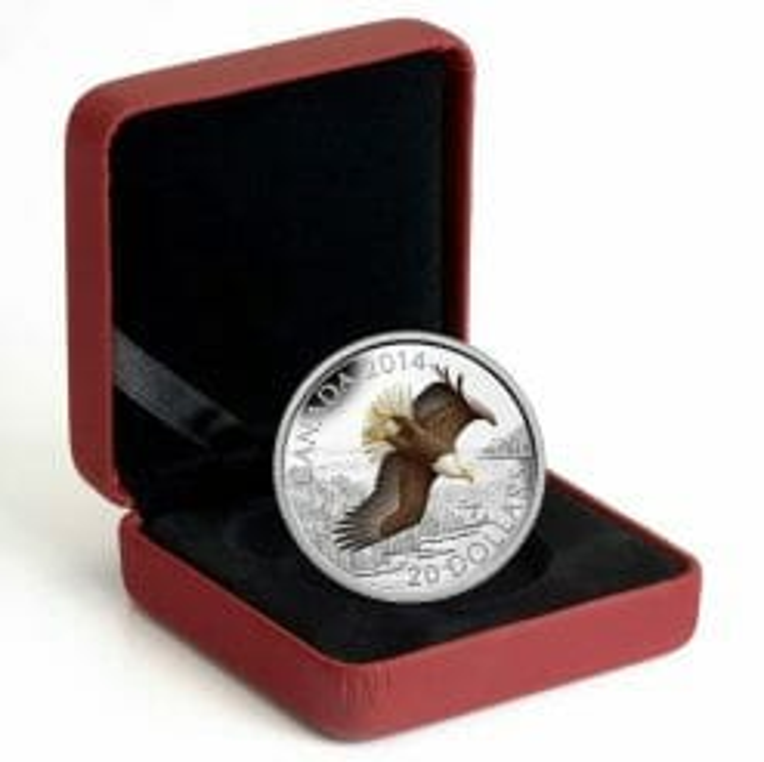 2014 $20 Soaring Bald Eagle 1oz .9999 Silver Coin - Royal Canadian Mint 4