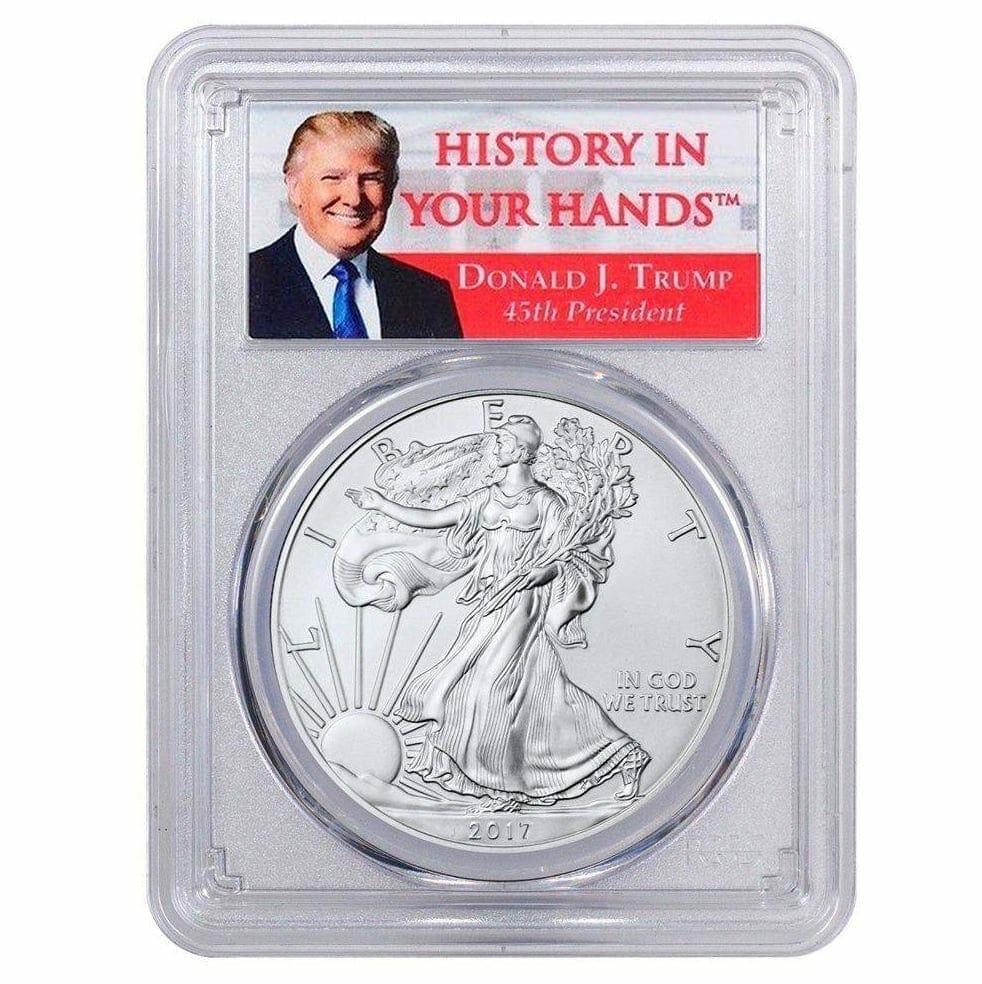 2017 - 1oz Silver Eagle - First Strike - Donald Trump Label Dollar MS70 PCGS 1