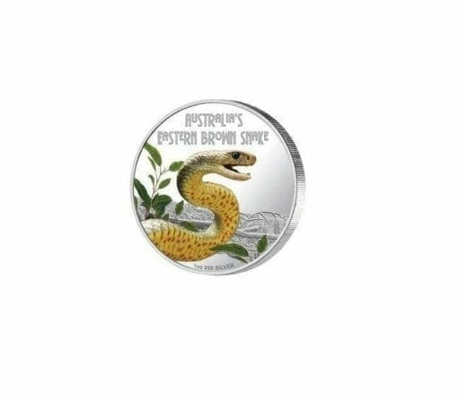 2010 Deadly and Dangerous - Eastern Brown Snake - 1oz .999 Silver Proof Coin - Perth Mint 1