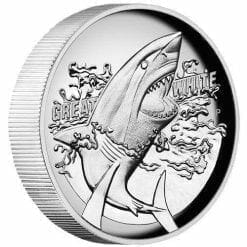 2015 Great White Shark 1oz Silver Proof High Relief Coin - The Perth Mint 999 & 9999