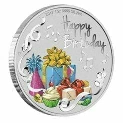 2017 Happy Birthday 1oz Silver Coloured Coin - The Perth Mint 999 & 9999