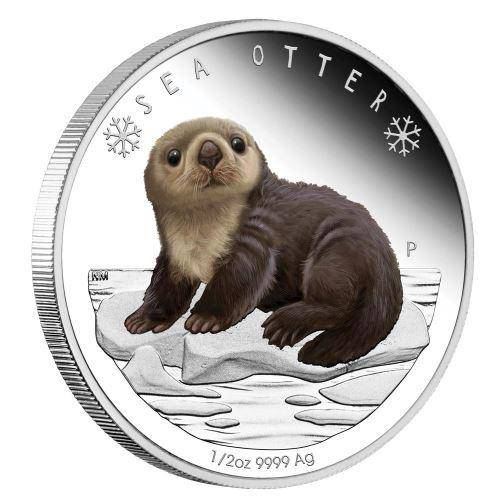 2017 Polar Babies - Sea Otter 1/2oz Silver Proof Coin - The Perth Mint 999 & 9999