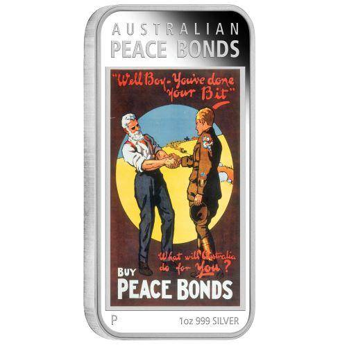 Australian Posters of WWI - Peace Bonds 2018 1oz Silver Proof Coin - The Perth Mint 999 & 9999