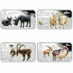 2015 Year of the Goat 1oz Silver Rectangle Four-Coin Set - The Perth Mint 999 & 9999