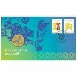 2018 Year of the Dog Stamp and Coin Cover - The Perth Mint