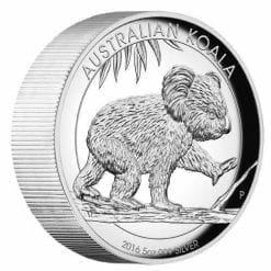 2016 Australian Koala 5oz Silver Proof High Relief Coin - The Perth Mint 999 & 9999