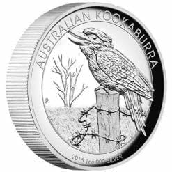 2016 Australian Kookaburra 1oz Silver Proof High Relief Coin - The Perth Mint 999 & 9999