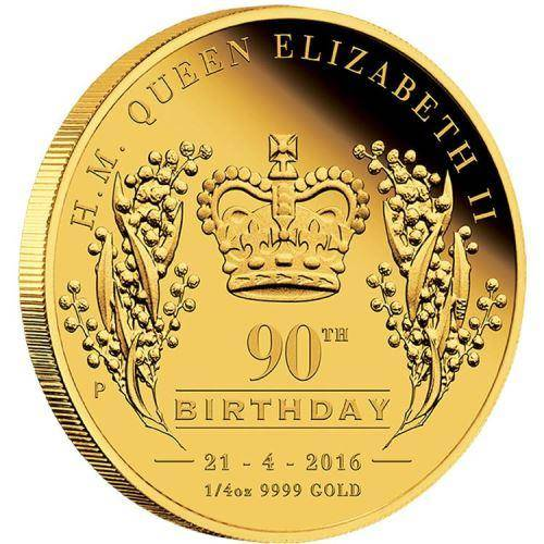 H.M.Queen Elizabeth II 90th Birthday 2016 1/4oz Gold Proof Coin - The Perth Mint 9999