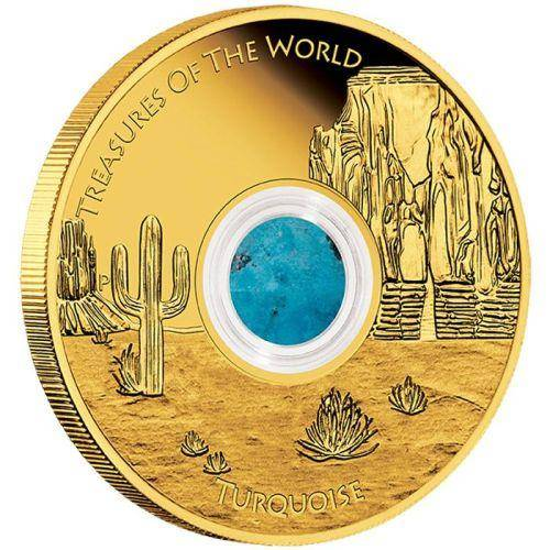 Treasures of the World - North America 1oz Gold Proof Locket Coin w/ Turquoise