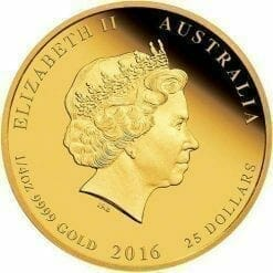2016 Year of the Monkey - 1/4 oz Coloured - Gold Coin - The Perth Mint 9999