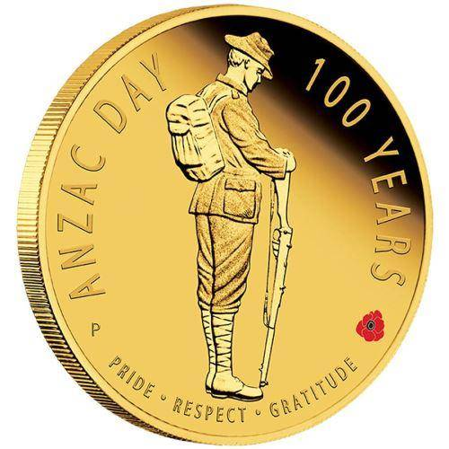 The ANZAC Spirit Anzac Day 100 Years 2016 1/4oz Gold Proof Coin
