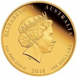 2018 1 oz - Coloured Dog - Gold Coin - The Perth Mint 9999