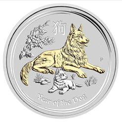 2018 1 oz - Silver Coin – Gilded Dog in Capsule - The Perth Mint 999 & 9999