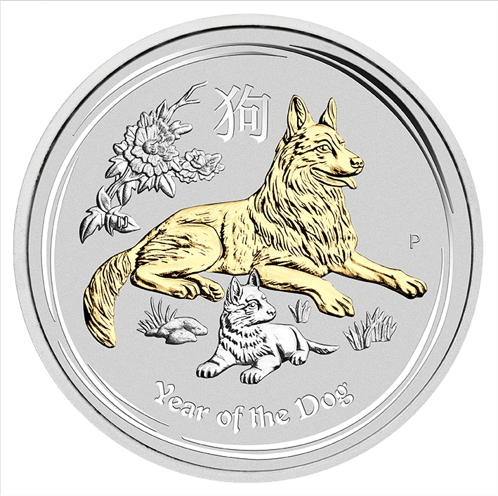 2018 1 oz - Silver Coin – Gilded Dog in Case - The Perth Mint 999 & 9999