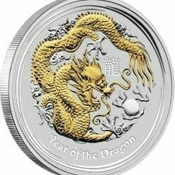 2012 Year of the Dragon 1oz .999 Silver Coin Gilded Edition - Australian Lunar Series II - Perth Mint