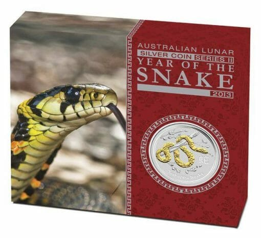 2013 Year of the Snake 1oz .999 Silver Coin Gilded Edition - Australian Lunar Series II - Perth Mint