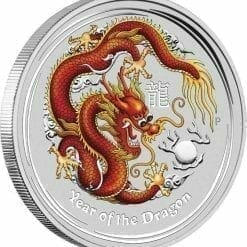 2012 Year of the Dragon 2oz .999 Silver Coin Coloured Edition - ANDA - Australian Lunar Series II - Perth Mint