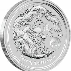 2012 Year of the Dragon with Lion Privy 1oz .999 Silver Coin in Capsule - PM BU