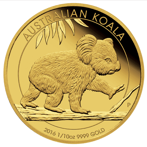 2016 Gold Proof Koala Coin Series – 1/10oz Coin - The Perth Mint 9999