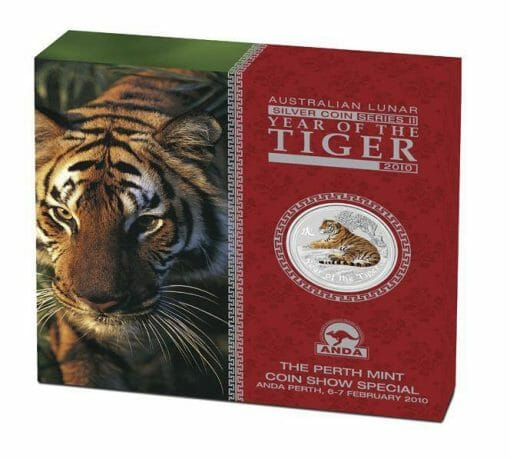 2010 Year of the Tiger 2oz .999 Silver Coin Coloured Edition - ANDA - Australian Lunar Series II - Perth Mint