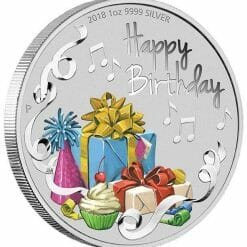2018 Happy Birthday 1oz .9999 Silver Coloured Coin in Card - The Perth Mint