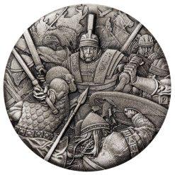 2018 Warfare – Roman Legion 2oz .9999 Silver Antiqued High Relief Rimless Coin