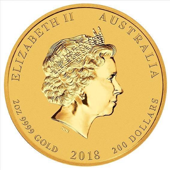 2018 Year of the Dog 2oz .9999 Gold Bullion Coin - Lunar Series - The Perth Mint BU