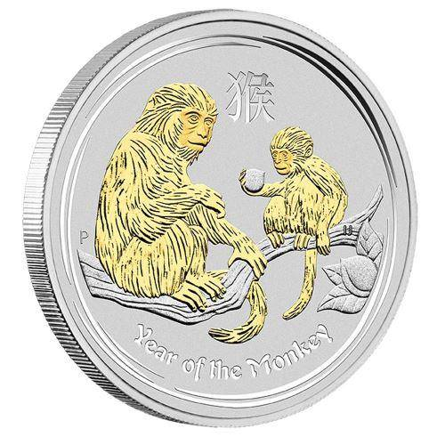 2016 Year of the Monkey - 1 oz Gilded in Presentation Case - Silver Coin – The Perth Mint 999 & 9999