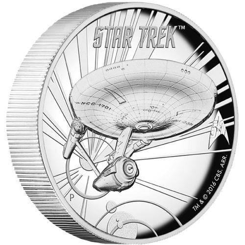 2016 Star Trek: U.S.S. Enterprise NCC-1701 1oz Silver Proof High Relief Coin  - The Perth Mint 999 & 9999