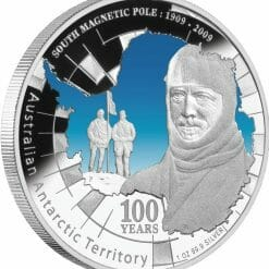 1909 - 2009 South Magnetic Pole 1oz .999 Silver Proof Coin - Australian Antarctic Territory - Perth Mint