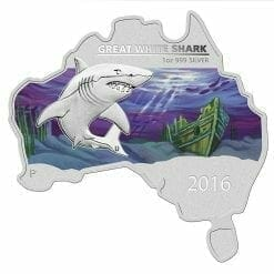2016 Great White Shark - Australian Map Series - 1oz .999 Silver Coin - The Perth Mint