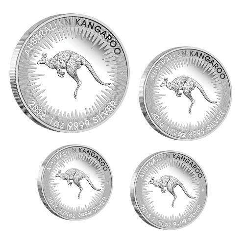 2016 Australian Kangaroo Silver Proof Four Coin Set - The Perth Mint 999 & 9999