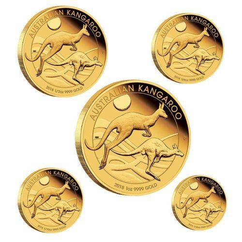 Australian Kangaroo 2018 Gold Proof Five Coin Set - The Perth Mint 9999