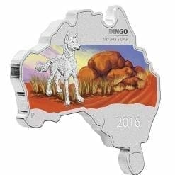2016 Dingo - Australian Map Series - 1oz .999 Silver Coin - The Perth Mint