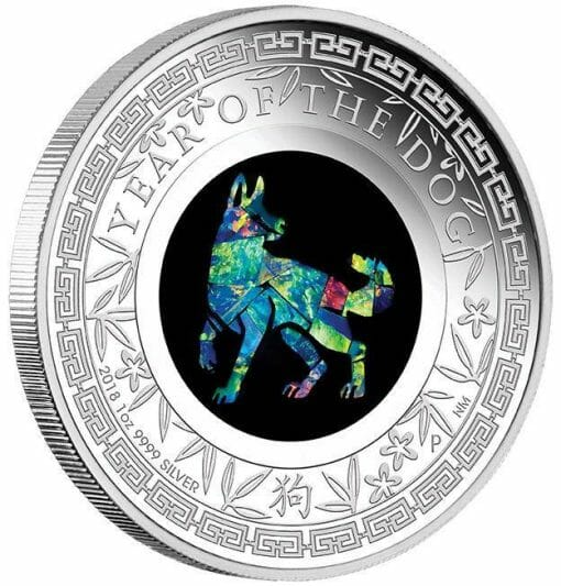 2018 Opal Lunar Series Year of the Dog 1oz .9999 Silver Proof Coin - The Perth Mint