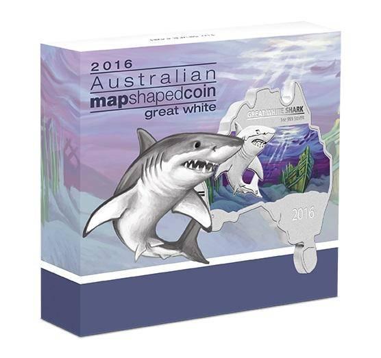 2016 Great White Shark - Australian Map Series - 1oz .999 Silver Coin - The Perth Mint