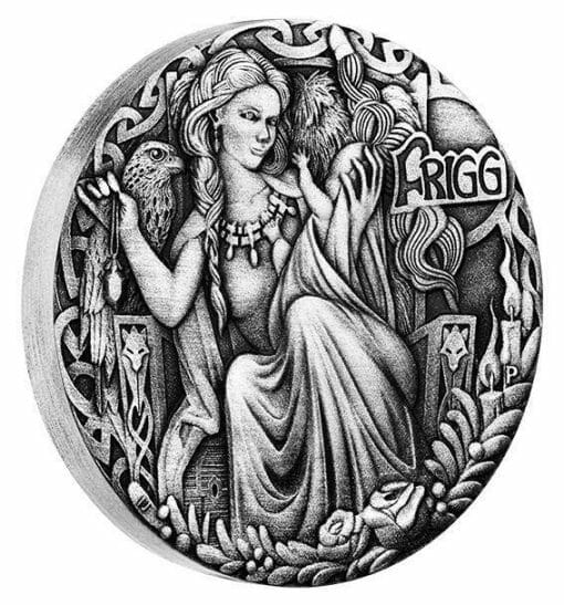 2017 Norse Goddesses – Frigg 2oz .9999 Silver Antiqued High Relief Coin - The Perth Mint