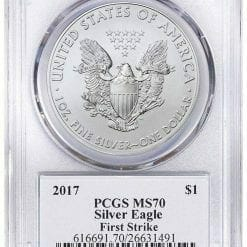 2017 - 1oz Silver Eagle - First Strike - Donald Trump Label Dollar MS70 PCGS