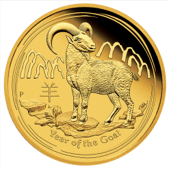 2015 Year of the Goat - 1/10 oz - Gold Coin - The Perth Mint 9999