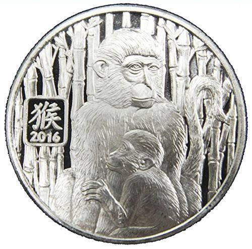 2016 Year of the Monkey 1oz .999 Silver Bullion Coin - 12 Lunar Animals Calender 1