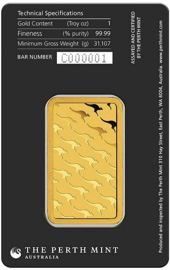 Perth Mint Kangaroo 1oz .9999 Gold Minted Bullion Bar 2