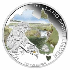 2014 The Land Down Under - Gold Rush - 1oz .999 Silver Proof Coin - Perth Mint