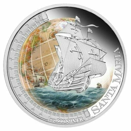 2011 Ships That Changed The World - Santa Maria - 1oz .999 Silver Proof Coin - Perth Mint