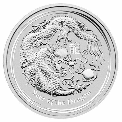 2012 Year of the Dragon 1/2oz .999 Silver Bullion Coin in Capsule - Lunar Series II - Perth Mint