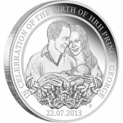2013 In Celebration of the Birth of HRH Prince George 1oz .999 Silver Proof Coin - Perth Mint